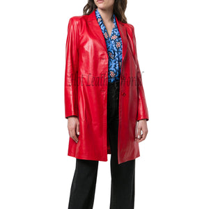 Red Lamb Skin Leather Coat For Women -  HOTLEATHERWORLD