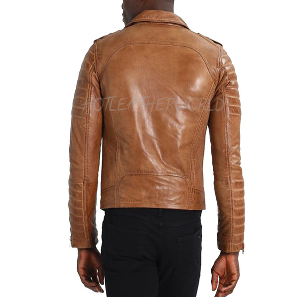 Trendy Men Biker Leather Jacket -  HOTLEATHERWORLD