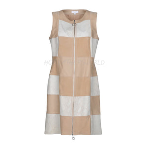 Color Block Sleeveless Women Leather Dress -  HOTLEATHERWORLD