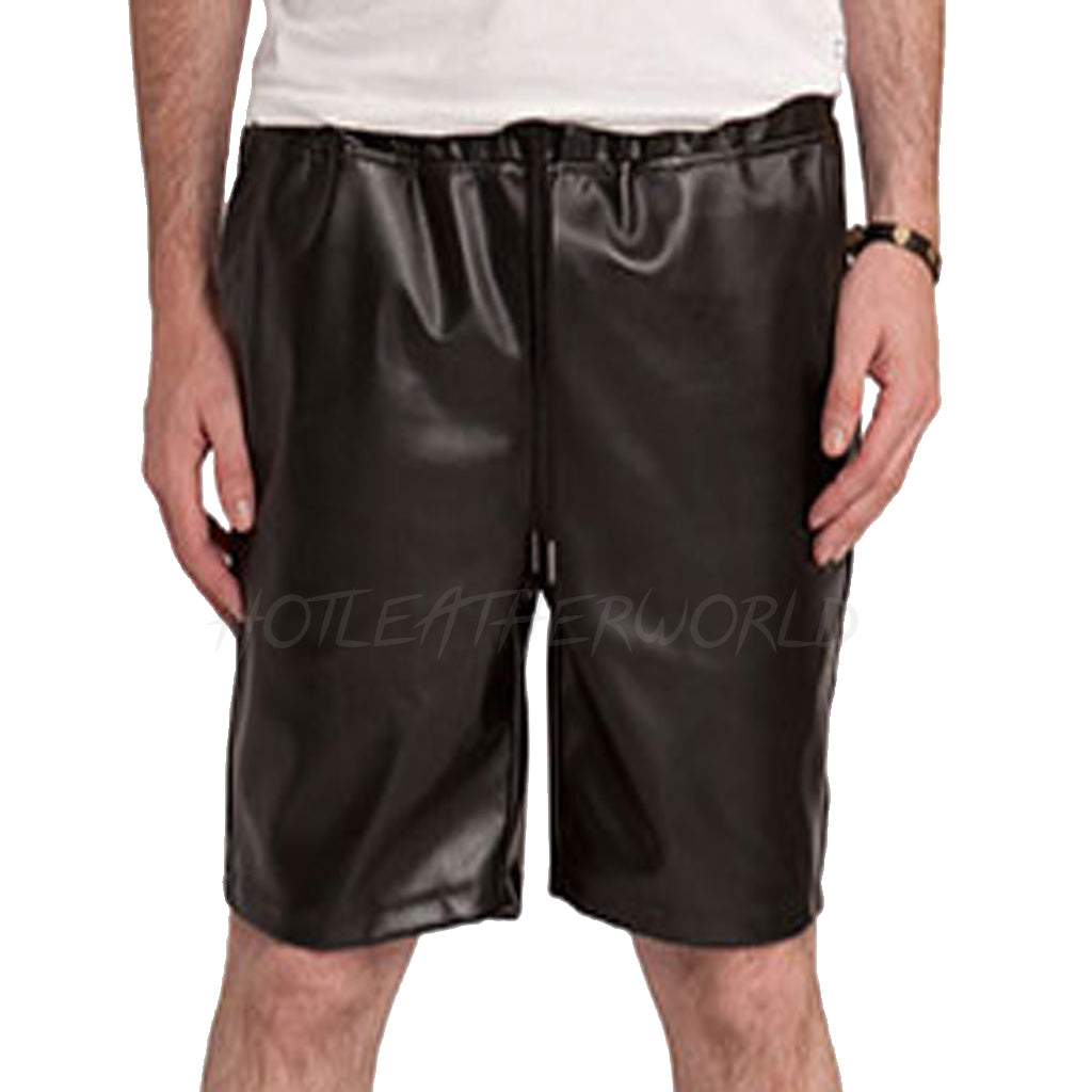 MEN FAUX LEATHER SHORTS