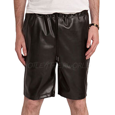MEN FAUX LEATHER SHORTS -  HOTLEATHERWORLD