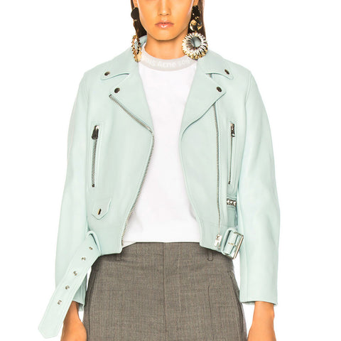 Lamb Skin Leather Pastel Leather Jacket -  HOTLEATHERWORLD