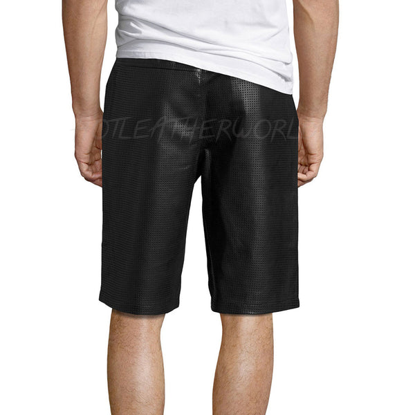 Perforated Men Leather Shorts