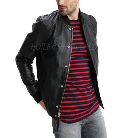 Classy Men Bomber Leather Jacket -  HOTLEATHERWORLD