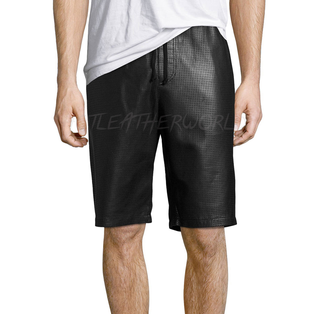 Perforated Men Leather Shorts -  HOTLEATHERWORLD