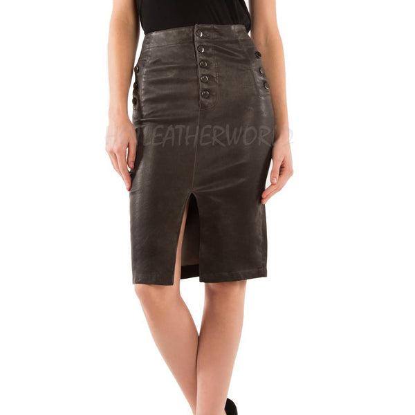 High Waist Pencil Leather Skirt -  HOTLEATHERWORLD