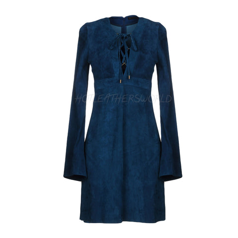 Bell Sleeves Women Suede Leather Dress -  HOTLEATHERWORLD