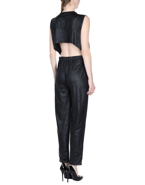 Open Back Styled Women Leather Jumpsuit -  HOTLEATHERWORLD