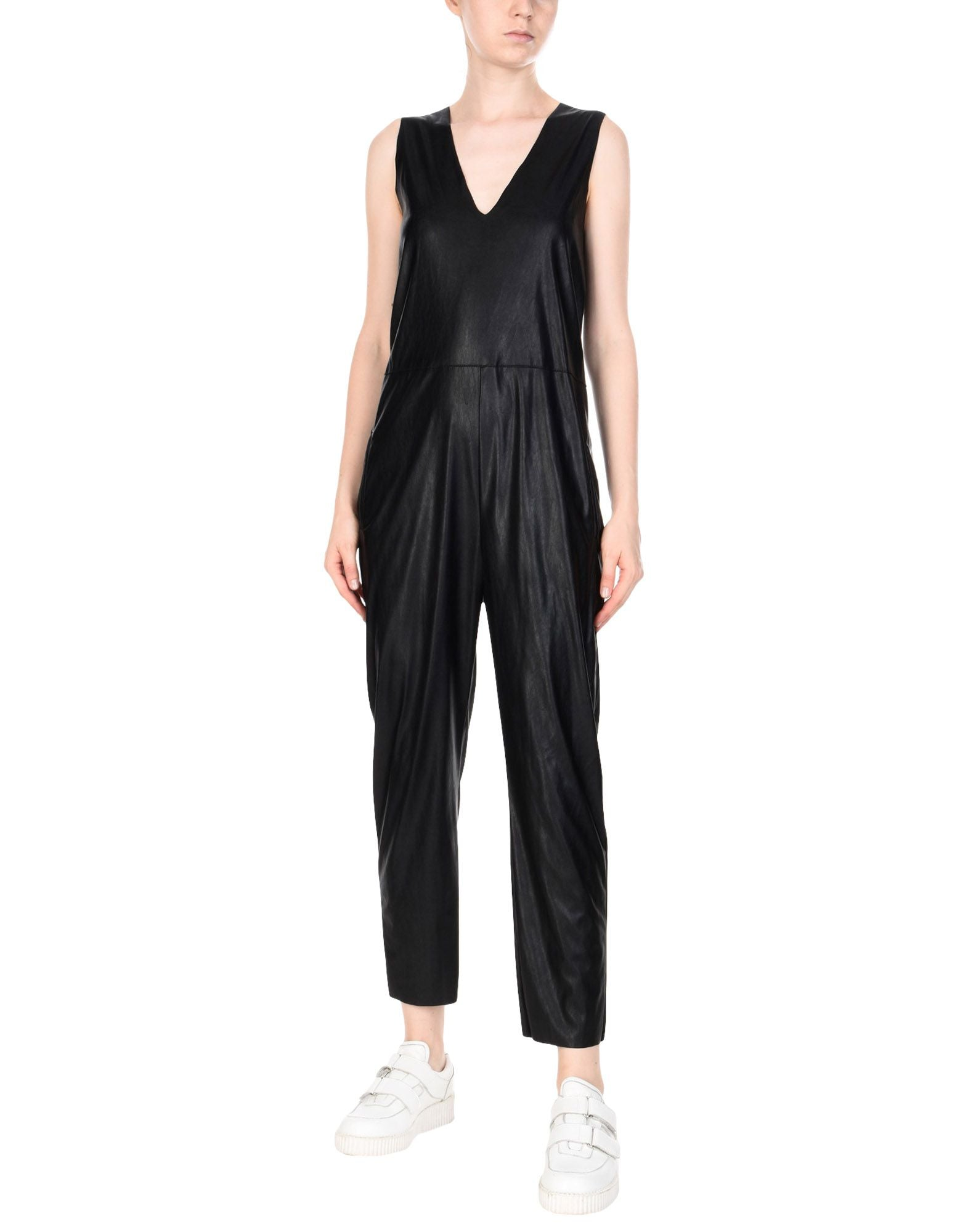 Deep V Neck Women Cropped Leather Jumpsuit -  HOTLEATHERWORLD