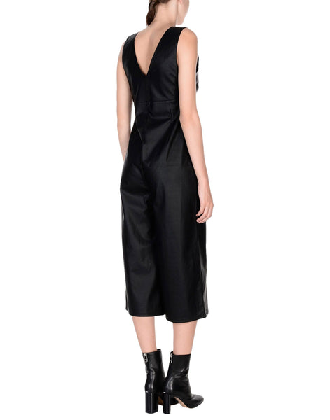 Cropped Utility Women Leather Jumpsuit -  HOTLEATHERWORLD