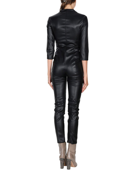 Slim Fit Styled Awesome Women Leather Jumpsuit -  HOTLEATHERWORLD