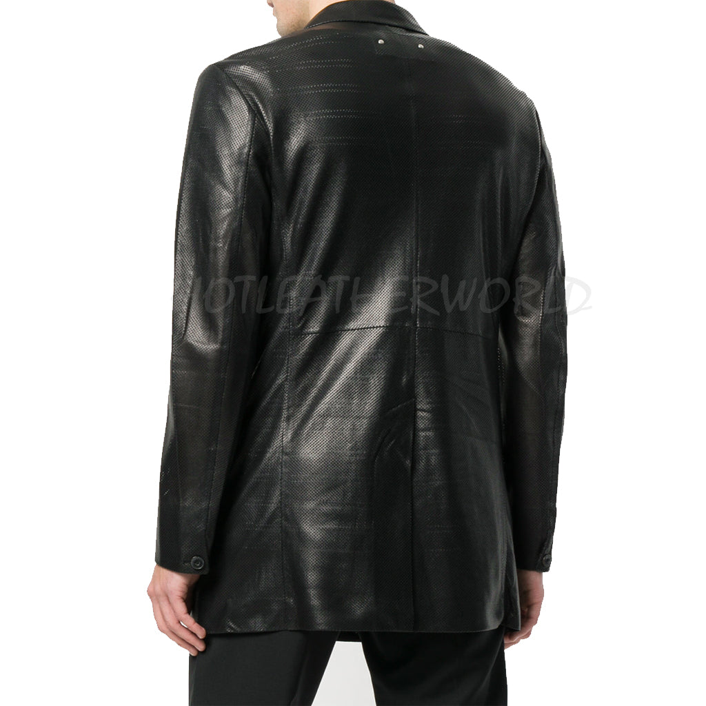 Perforated Men Leather Blazer -  HOTLEATHERWORLD