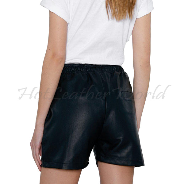 Draw String Mini Length Leather Shorts -  HOTLEATHERWORLD
