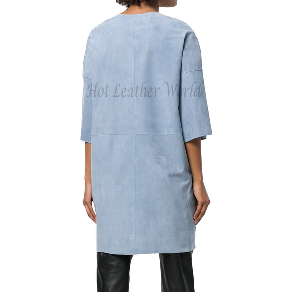 Collarless Suede Leather Women Coat -  HOTLEATHERWORLD