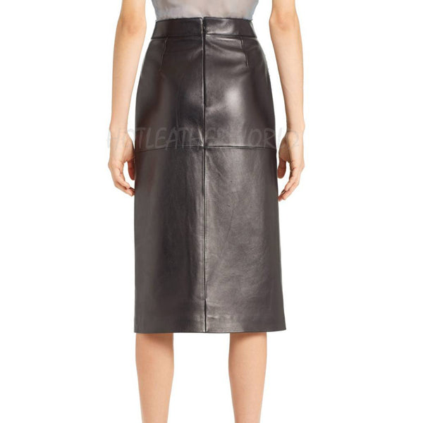 Studded Lambskin Leather Skirt -  HOTLEATHERWORLD