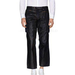 Cropped Men leather Pants -  HOTLEATHERWORLD
