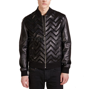 Designer Men Bomber Leather Jacket -  HOTLEATHERWORLD