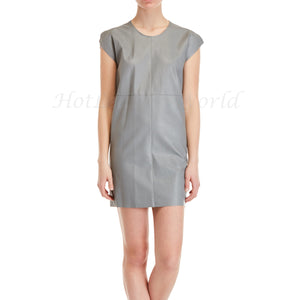 Mini Mega Sleeves Leather Shift Dress -  HOTLEATHERWORLD