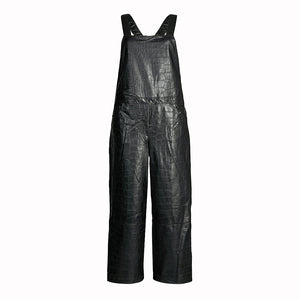 Crocodile Embossed Women Leather Jumpsuit -  HOTLEATHERWORLD