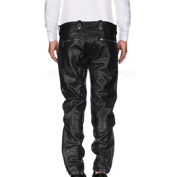 Stich Detailing Men Leather Pants -  HOTLEATHERWORLD