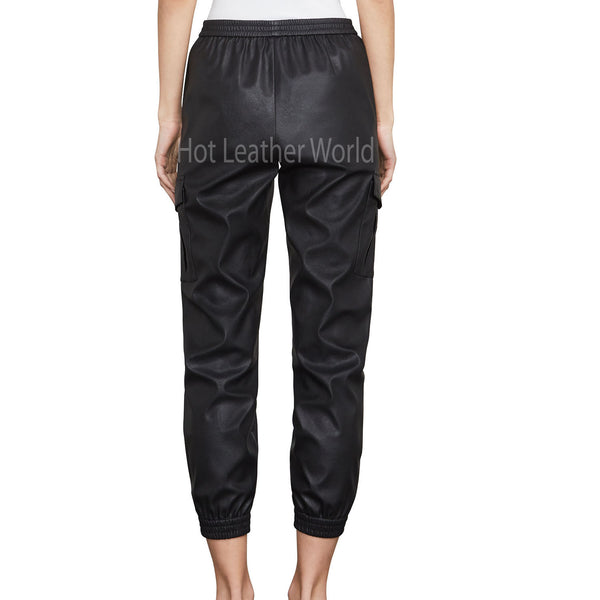 Faux-Leather Women Cargo Pant -  HOTLEATHERWORLD