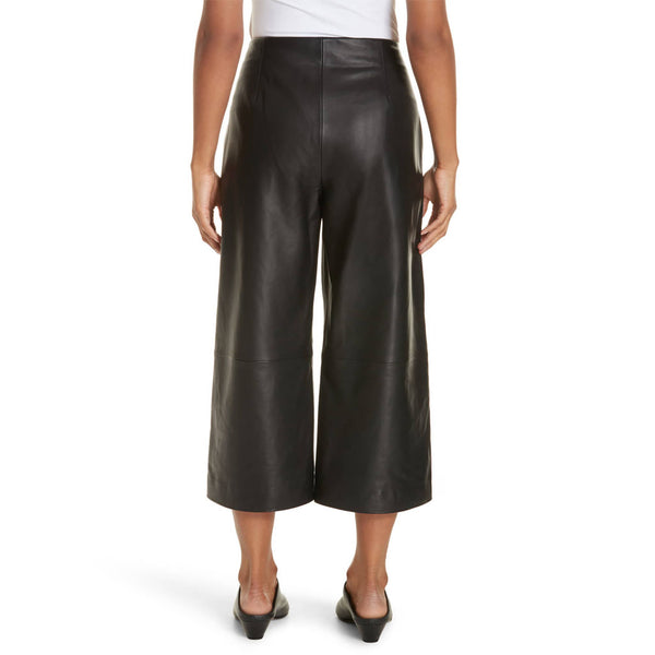 Wide Leg Crop Women Leather Pants -  HOTLEATHERWORLD