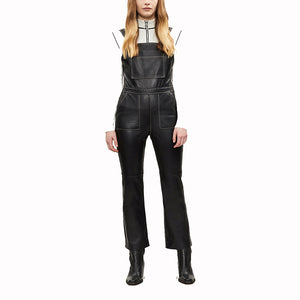 Square Neckline Women Leather Jumpsuit -  HOTLEATHERWORLD