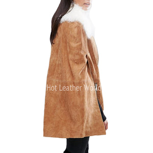 Suede Cape Coat For Women -  HOTLEATHERWORLD