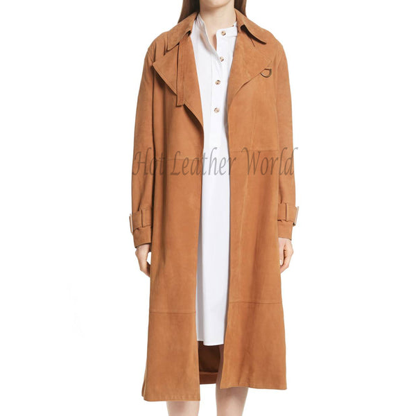 Brown Suede Leather Women Trench Coat -  HOTLEATHERWORLD
