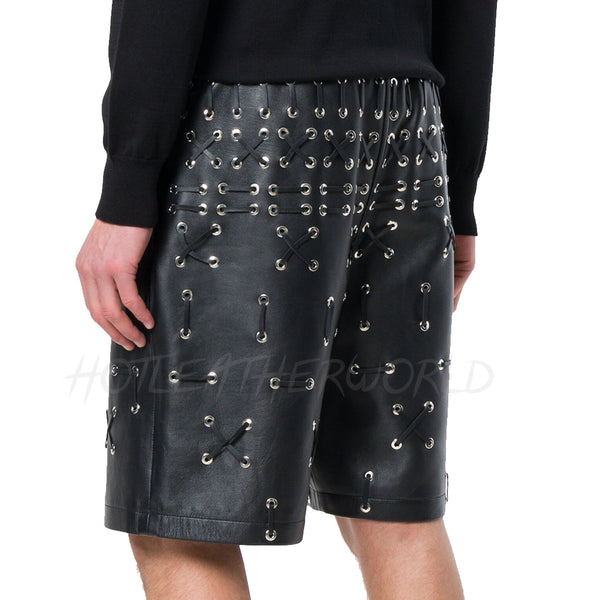Lace Detail Men Leather Shorts -  HOTLEATHERWORLD