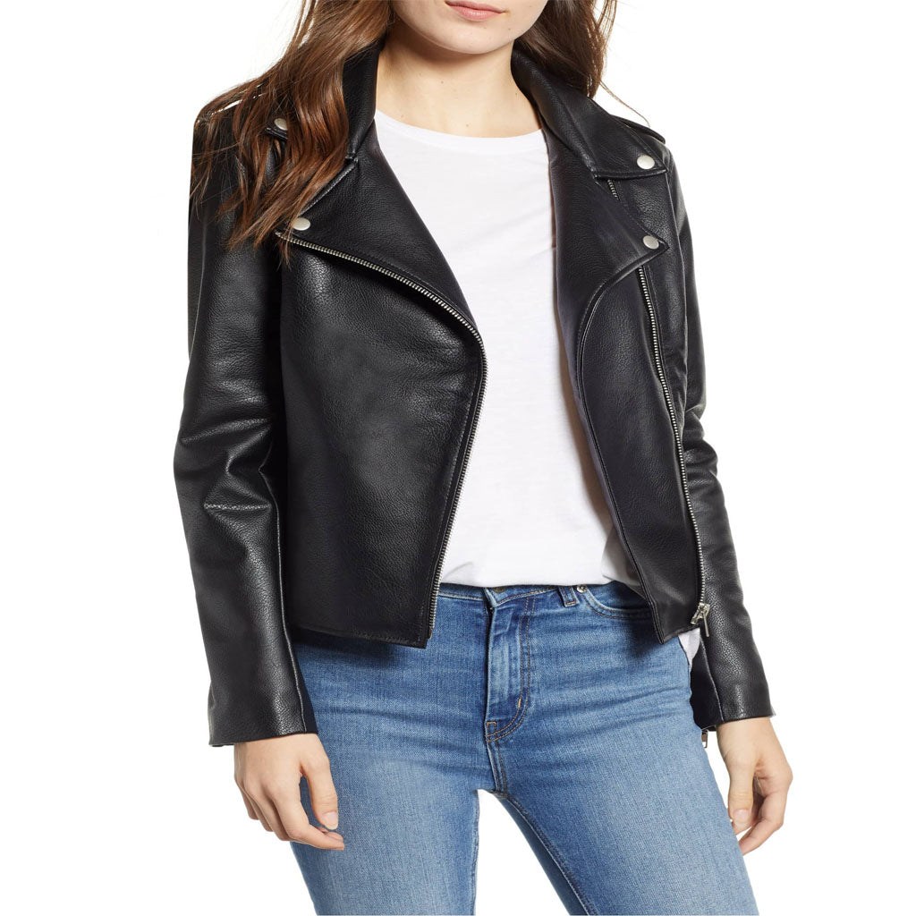 Black Notch Collar With Snap Button Women Leather Jacket -  HOTLEATHERWORLD