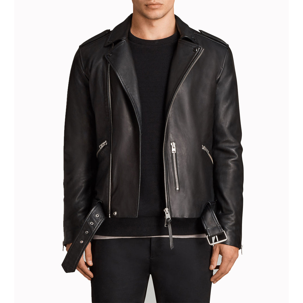 Zipper Detailing Men Leather Motorcycle Jacket -  HOTLEATHERWORLD