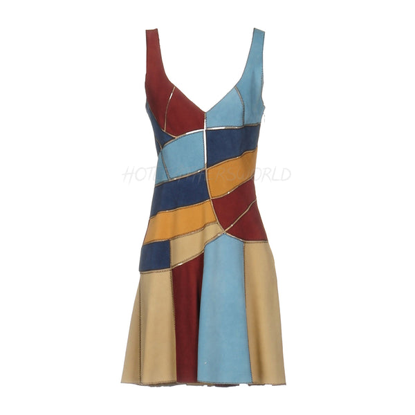 Color Block Suede Leather Dress -  HOTLEATHERWORLD
