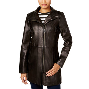 Asymmetrical Women Leather Coat -  HOTLEATHERWORLD
