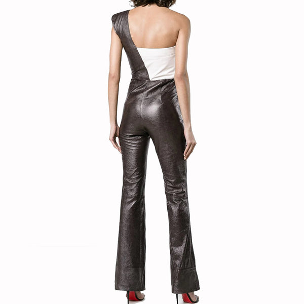 One Shoulder Women Leather Jumpsuit -  HOTLEATHERWORLD