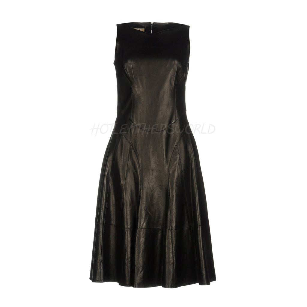 Knee Length Leather Short Dress -  HOTLEATHERWORLD