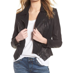 Fitted Moto Leather Jacket For Women -  HOTLEATHERWORLD