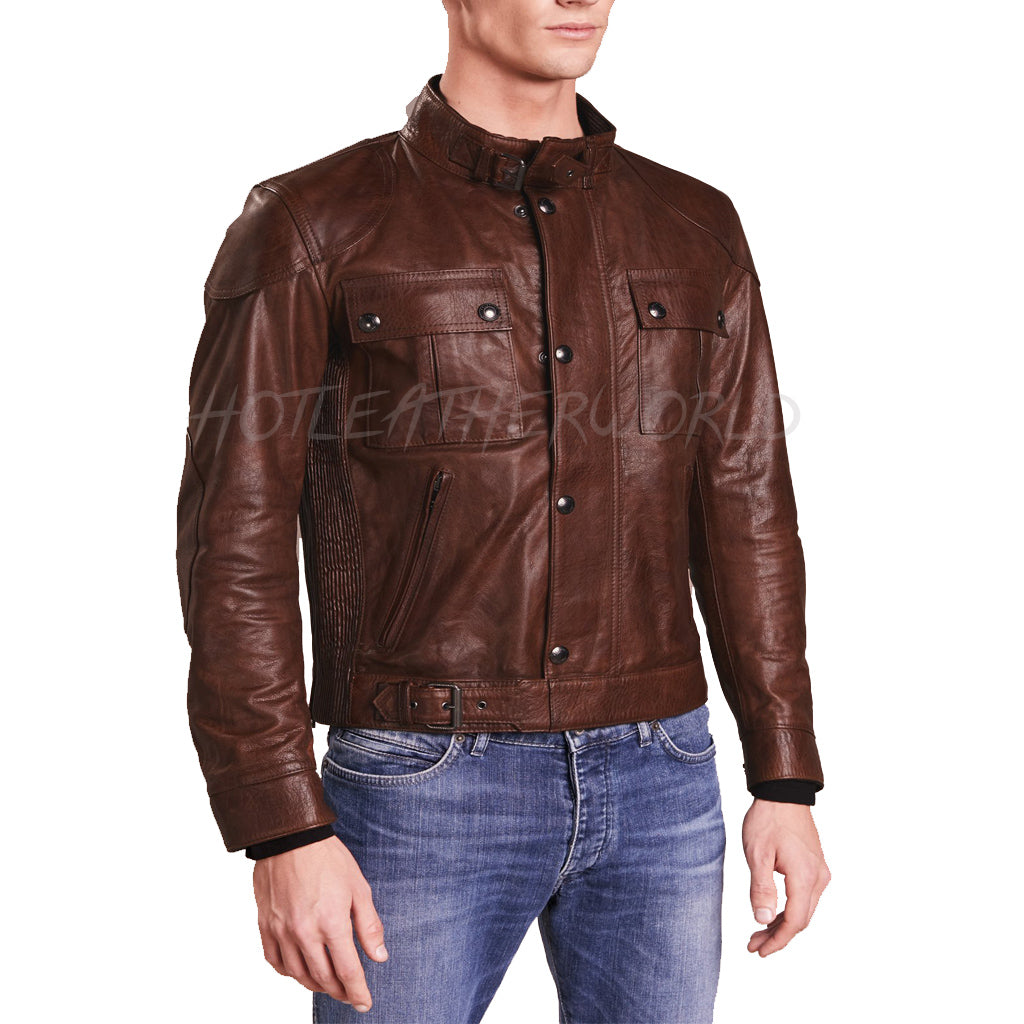 Brown Classic Style Men Leather Jacket -  HOTLEATHERWORLD