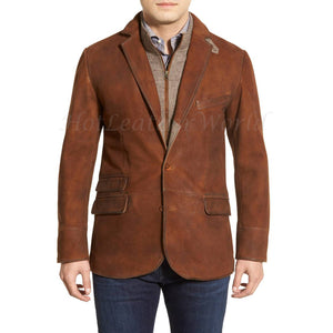 Suede Distress Leather Men Blazer -  HOTLEATHERWORLD