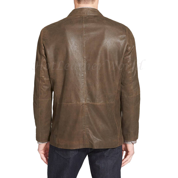 Lambskin Leather Men Blazer -  HOTLEATHERWORLD