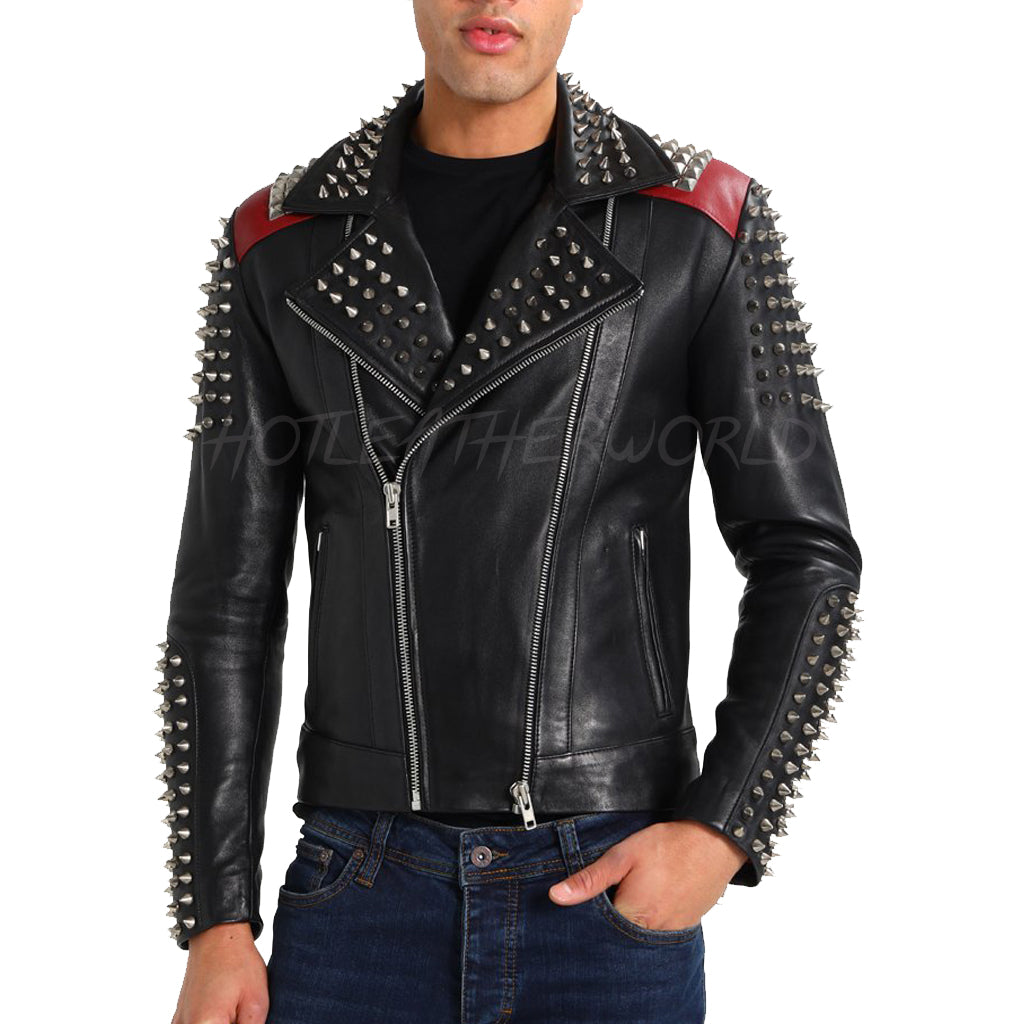Studded Men Leather Biker Jacket -  HOTLEATHERWORLD