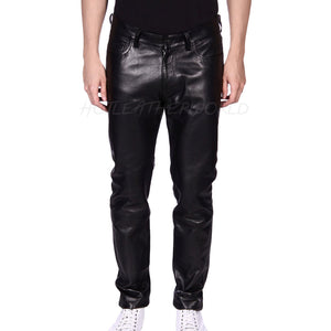 Stander 5 Pocket Men Leather Pant -  HOTLEATHERWORLD