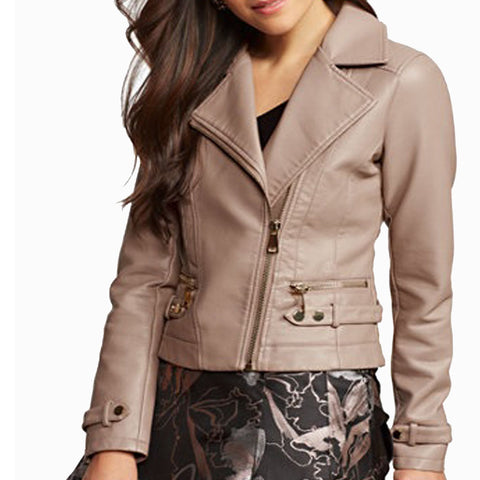 Cropped Style Moto Leather Jacket -  HOTLEATHERWORLD
