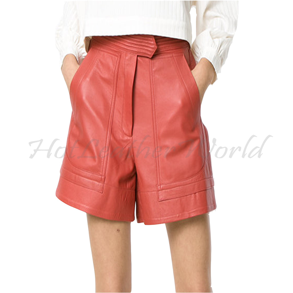 Panelled Women Leather shorts -  HOTLEATHERWORLD