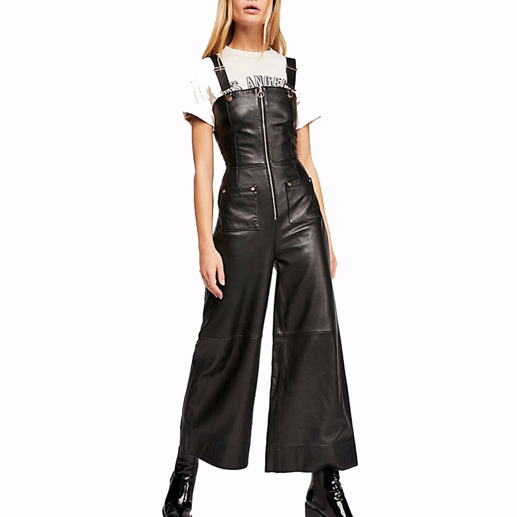 Wide Legs Women Leather Jumpsuits -  HOTLEATHERWORLD