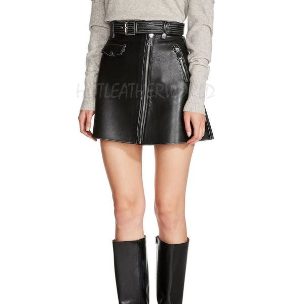 Belted A-Line Leather Miniskirt -  HOTLEATHERWORLD