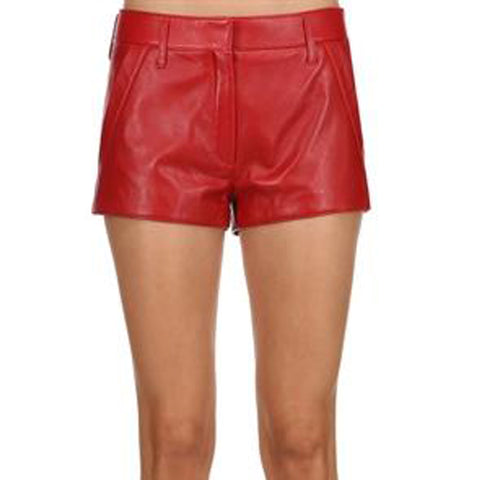 Eyelet-Embroidered High-Rise Leather Shorts -  HOTLEATHERWORLD