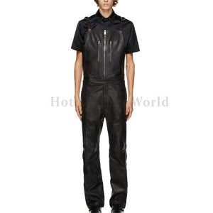 Adjustable Shoulder Straps Men Leather Jumpsuit