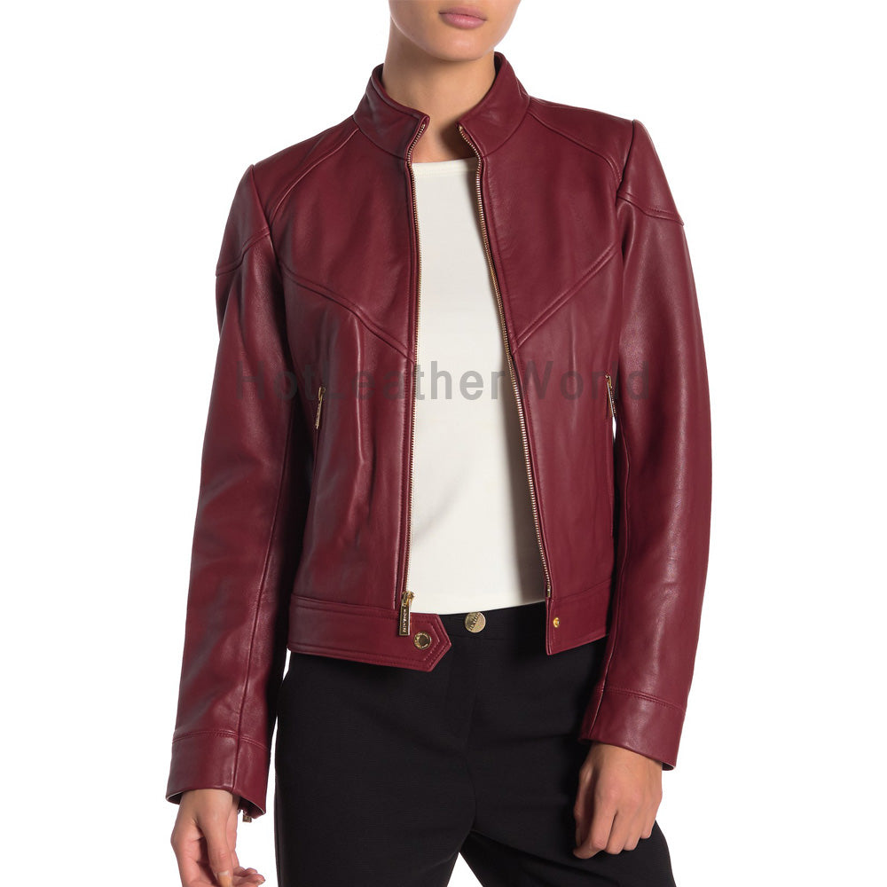 Paneled Women Leather Jacket -  HOTLEATHERWORLD