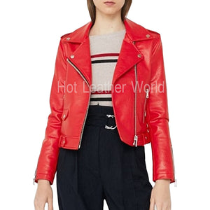 Biker Red Leather Jacket For Women -  HOTLEATHERWORLD